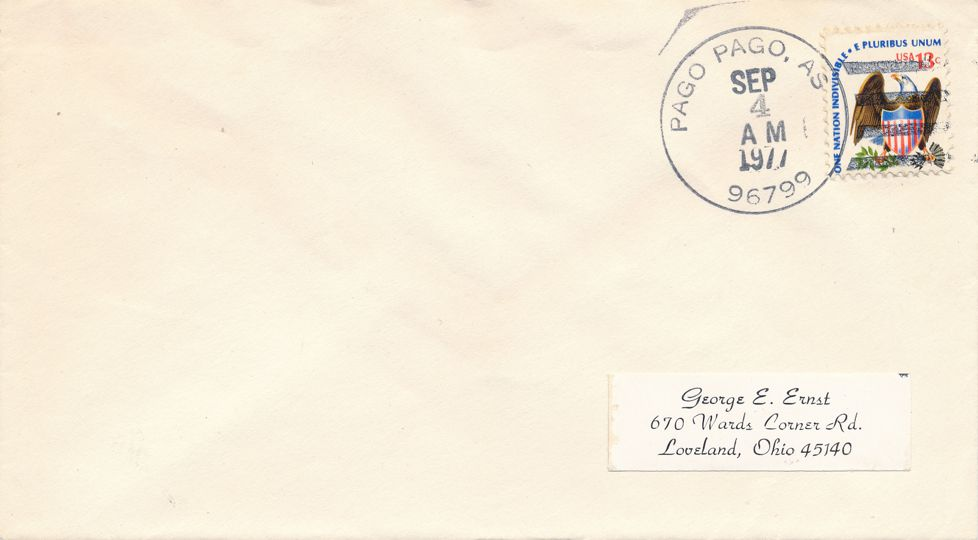 United States sc# 1596 - Cover Postmarked at Pago Pago AS American Samoa 9/4/77
