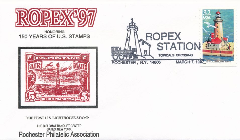 United States sc# 2971 on cover - Lighthouse - 1997 ROPEX Cachet