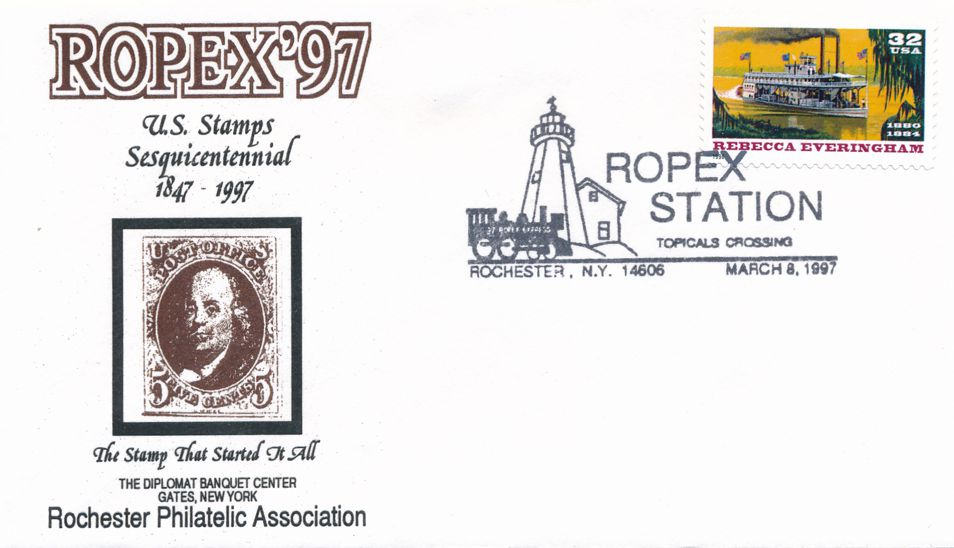 United States sc# 3094 on cover - River Boat - 1997 ROPEX Cachet - pm 1997 at Rochester NY