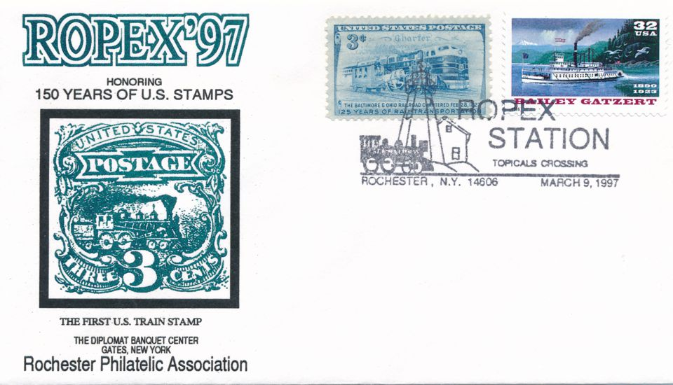 United States sc# 3095 on cover - River Boat - 1997 ROPEX Cachet - pm 1997 at Rochester NY