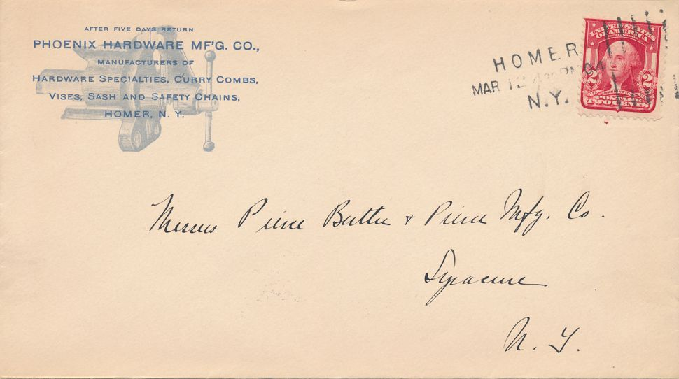 United States sc# 319 on Cover Homer New York 1904 - Phoenix Hardware Co - pm 1904 at Homer NY