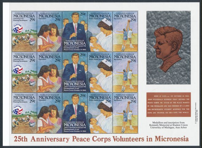 Micronesia sc# 150 MNH Full Sheet of 15 Stamps - JFK and Peace Corp Anniversary