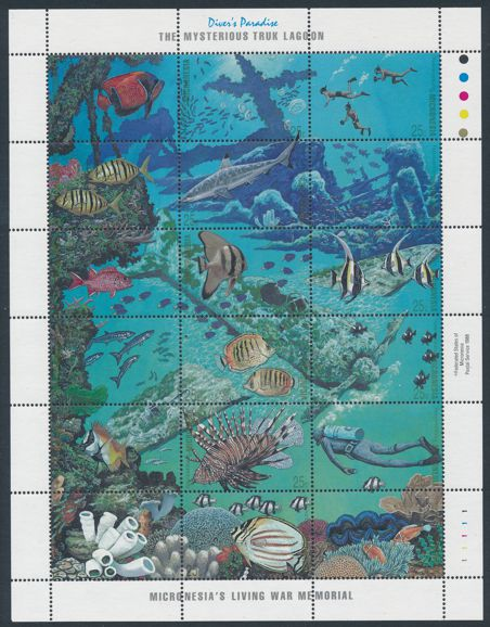 Micronesia sc# 71 MNH - Setenant Sheet of 18 Stamps - Marine Life in Divers Paradise
