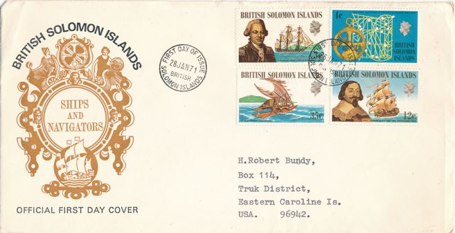 British Solomon Islands sc# 214-217 FDC - Ships and Pacific Explorers