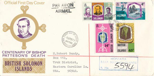 British Solomon Islands sc# 218-221 FDC - Registered Airmail Cover to Eastern Caroline Islands