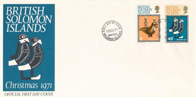 British Solomon Islands sc# 226-227 FDC - 1971 Christmas Issue - Native Arts