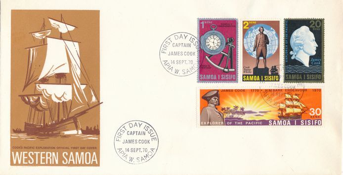 Samoa sc# 329-332 FDC - 14-Sept-1970 - Captain Cook Pacific Exploration