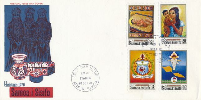 Samoa sc# 333-336 FDC - 4 stamps - 26-Oct-1970 - Christmas 1970