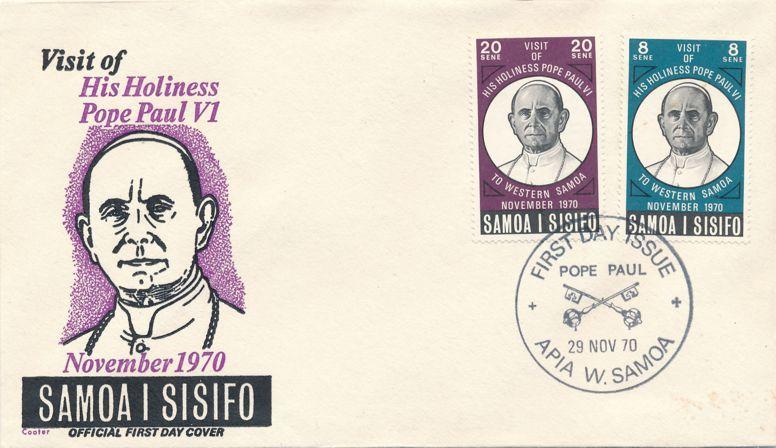 Samoa sc# 337-338 FDC - 29-Nov-1970 - Papal Visit - John Paul VI
