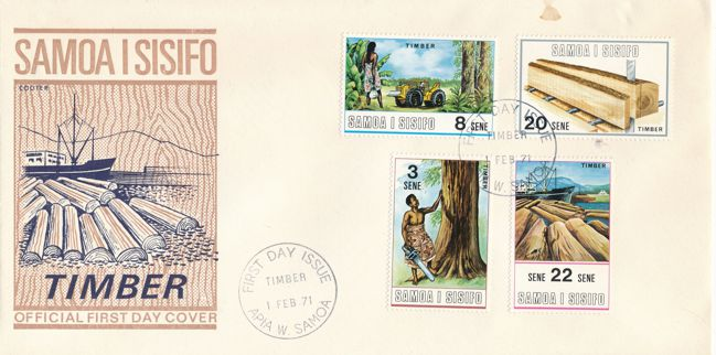 Samoa sc# 339-342 FDC - 01-Feb-1971 - Timber Industry