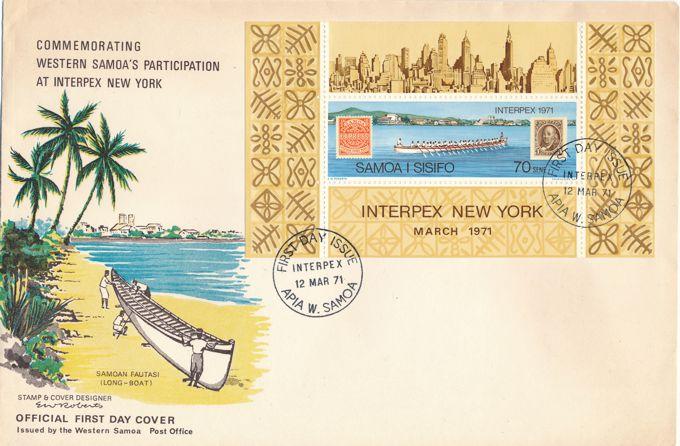 Samoa sc# 343 FDC - Interpex 1971 Souvenir Sheet - Samoan Long Boat