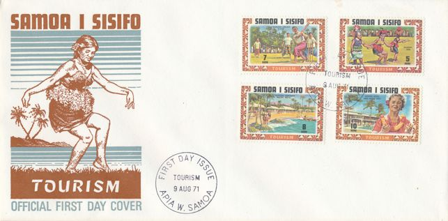 Samoa sc# 344-347 FDC - Tourism Publicity - 1971 - Cricket and Hotels