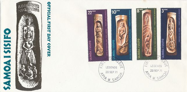 Samoa sc# 348-351 FDC - 1971 - Legends in Wood Carvings - 4 Stamps