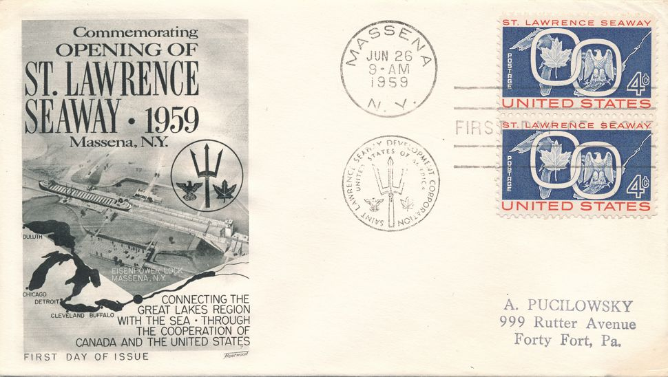 United States sc# 1131 FDC - Opening of St. Lawrence Seaway - Fleetwood
