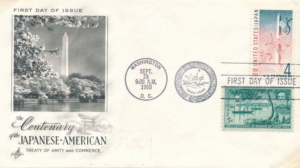 United States sc# 1158 FDC - Japanese-American Treaty - Plus related #1021 - Art Craft
