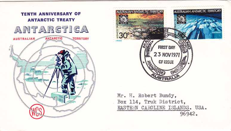 Australia Antarctica Territory 1971 FDC L19-L20 Macquarie Island