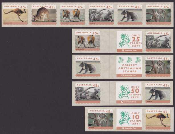 Australia sc# 1288-1293 MNH VF 14 Stamps - Kangaroos and Koalas