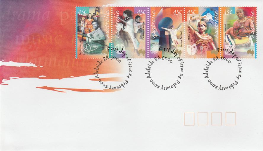 Australia 2000 FDC sc# 1808-1812 Strip of 5 - Multi-arts Festivals