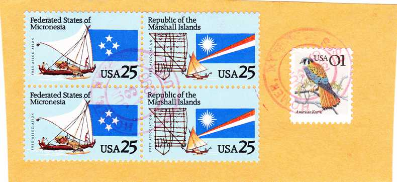 UNITED STATES sc# 2506-07 Setenant Block of 4 Used on piece - pm 1998