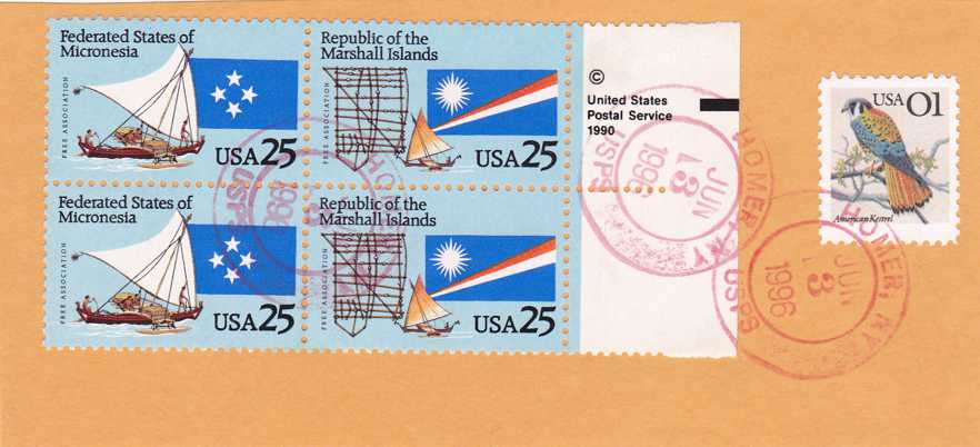 US sc# 2506-07 Setenant Block of 4 Used on piece - pm 1996