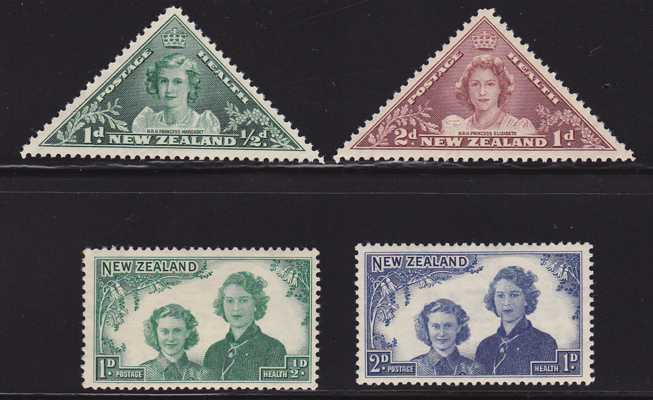 New Zealand #B22-25 - MLH - Semi-Postals - Princesses Elizabeth and Margaret