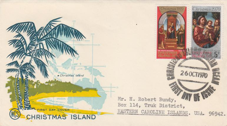 Christmas Island FDC #35, #36 - 1970 Christmas Issue - Addressed, Mailed