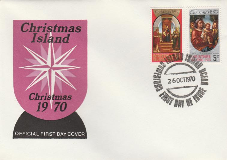 Christmas Island FDC #35, #36 - 1970 Christmas Issue - Unaddressed
