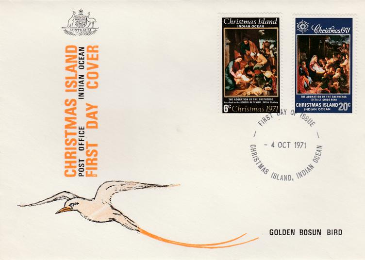 Christmas Island FDC #37, #38 - 1971 Christmas Issue - Unaddressed