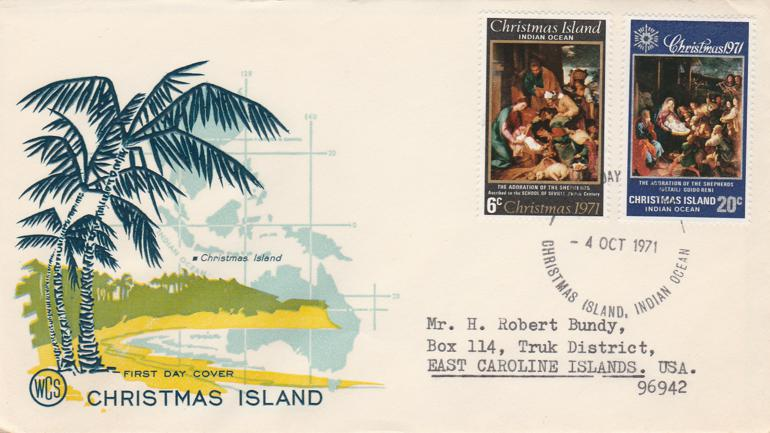 Christmas Island FDC #37, #38 - 1971 Christmas Issue - Addressed and Mailed