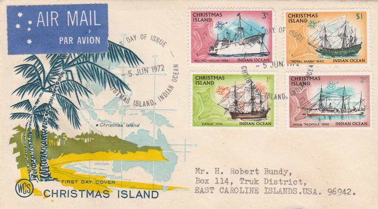 Christmas Island FDC - sc# 39,40,41,54 - Ships