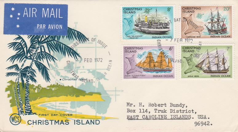 Christmas Island 1972 FDC -sc# 44,45,46,49 - Ships - Addressed Mailed