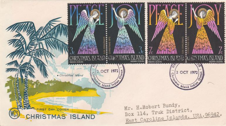 Christmas Island sc# 55-58 FDC - Christmas Issue 1972