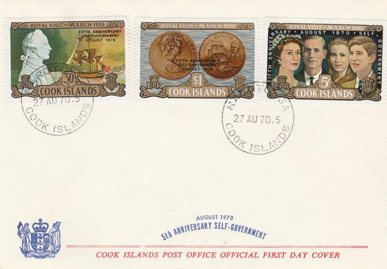 Cook Islands 1970 FDC - sc# 287-289 - 5th Anniversary Self Government
