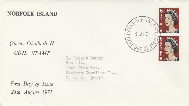 QE II Coil - Norfolk Island FDC #118A - 1971