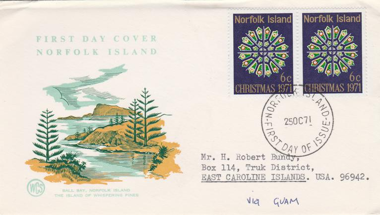 Norfolk Island FDC - 1971 Christmas Issue - #148