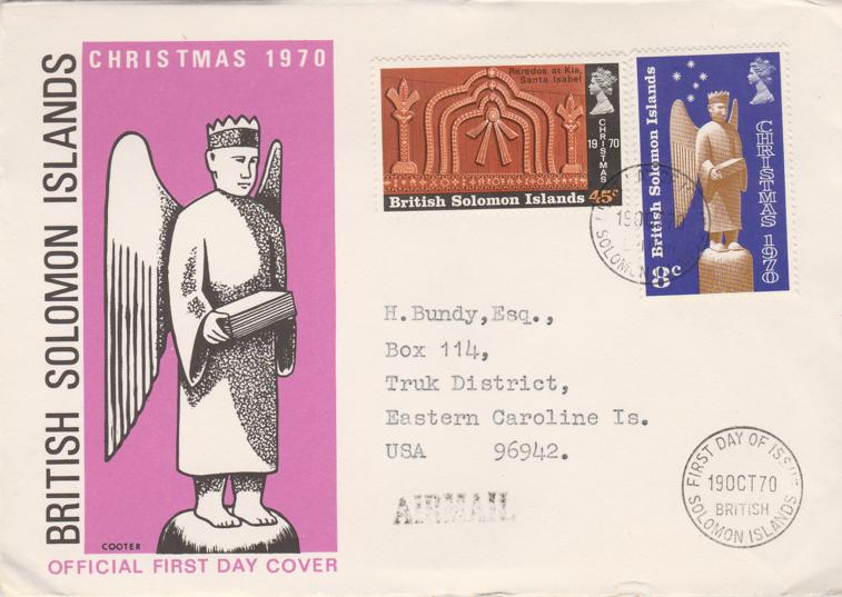 British Solomon Islands 1970 FDC sc# 212-213 - Christmas Issue