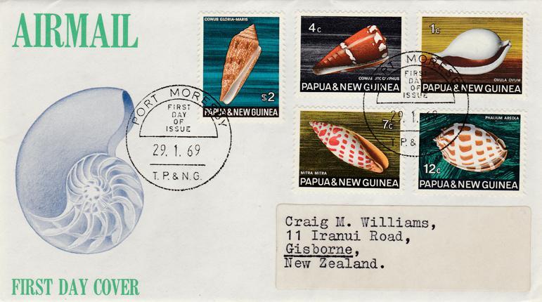 Papua New Guinea 1969 FDC sc# 265 267 269 271 279 - Shells