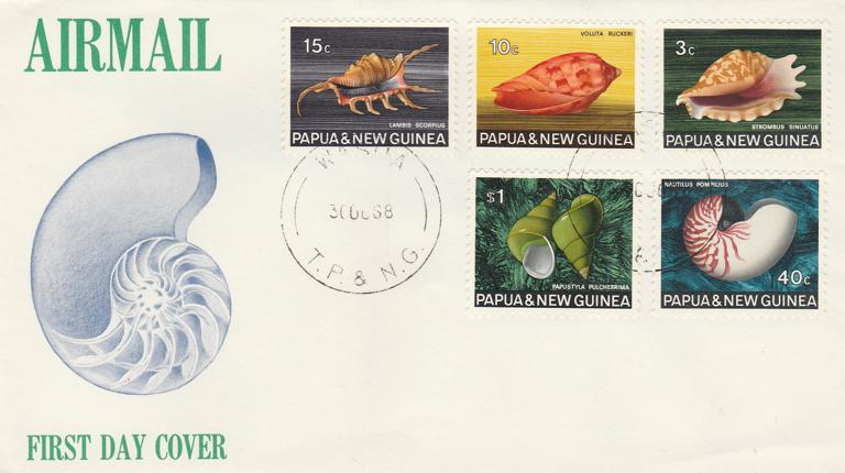 Papua New Guinea FDC sc# 266 270 272 276 278 - Shells - pm 1968 at Wasua