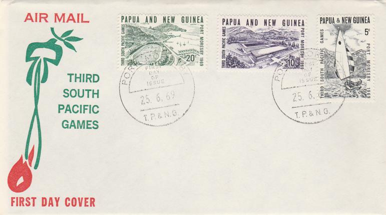 Papua New Guinea 1969 FDC sc# 284-286 - South Pacific Games