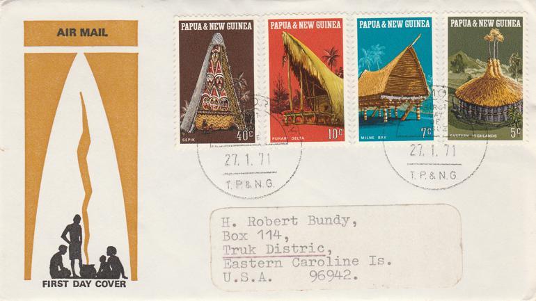 Papua New Guinea 1971 FDC sc# 319-322 - Local Architecture
