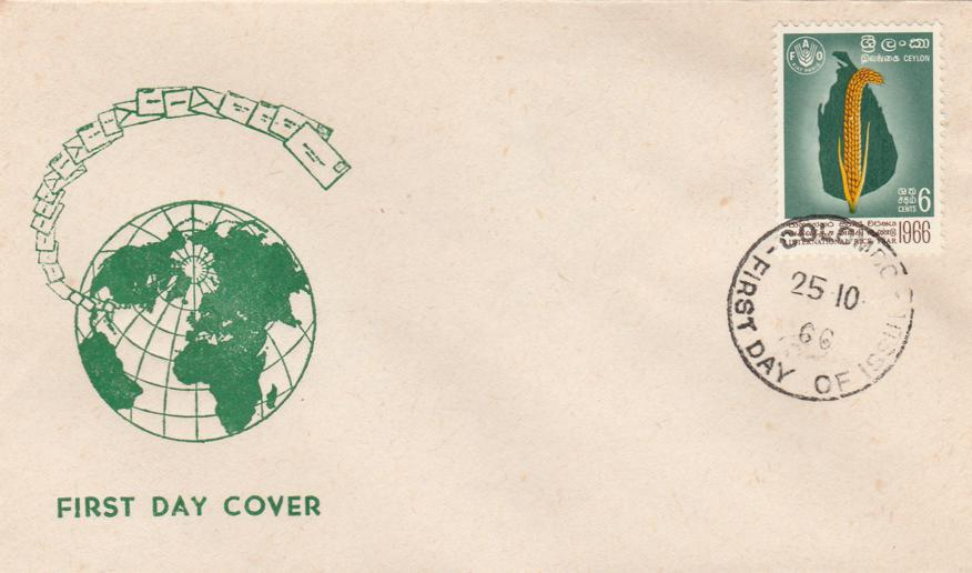 International Rice Year - Ceylon Sri Lanka 1966 FDC sc# 394