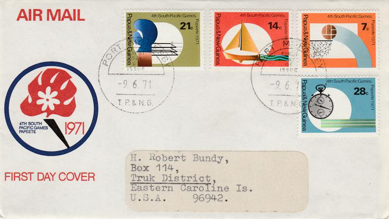 Papua New Guinea 1971 FDC sc# 328-331 - Fourth South Pacific Games