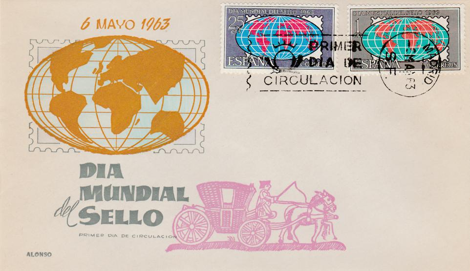 Spain sc# 1170-1171 FDC - 6-May-1963 - World Stamp Day - Dia Mundial del Sello