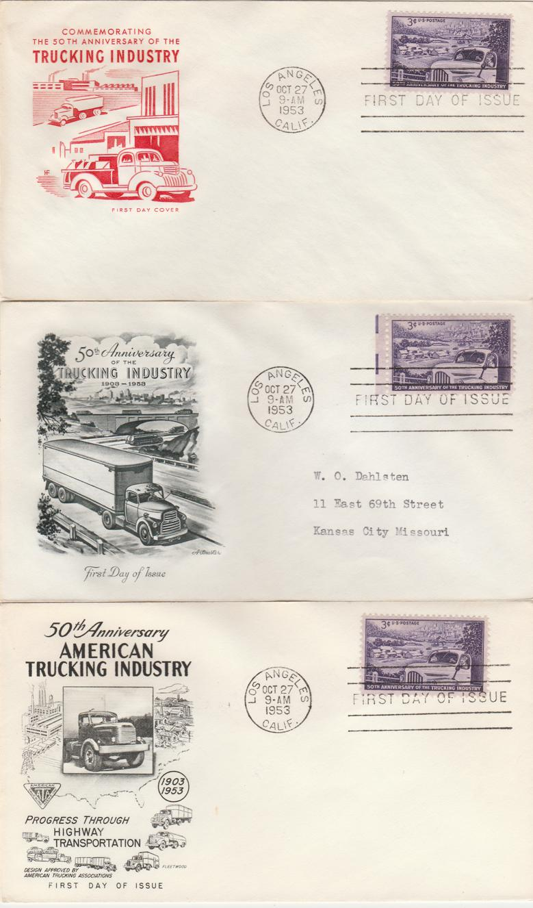 United States sc# 1025 FDC - 27-Oct-53 (3 covers) 1 Fleetwood, 1 Artmaster