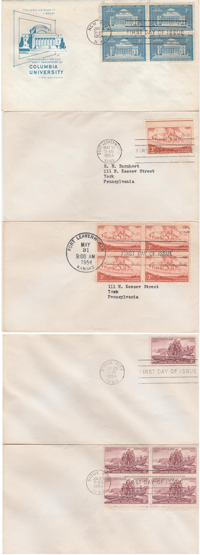United States sc# 1029, 1061, 1063 - 5 x 1954 FDC Covers - pm 1954