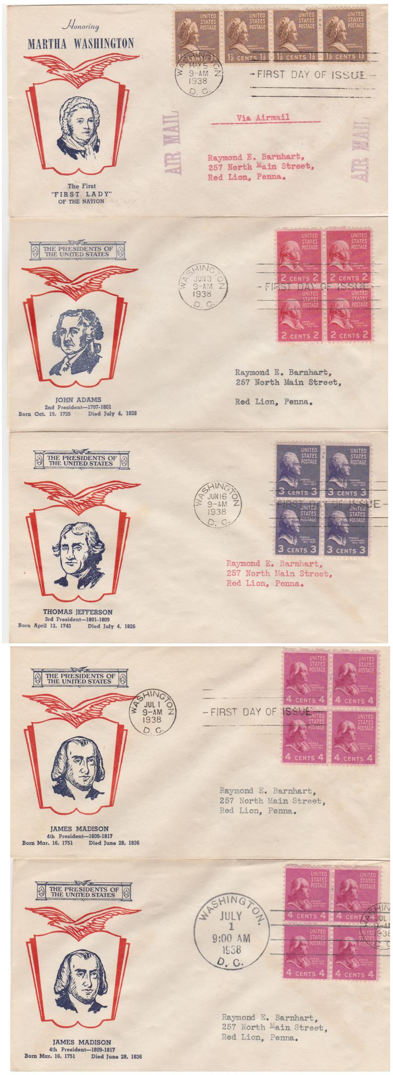 United States 1938 FDC's sc# 805, 806, 807, 808 - President Series