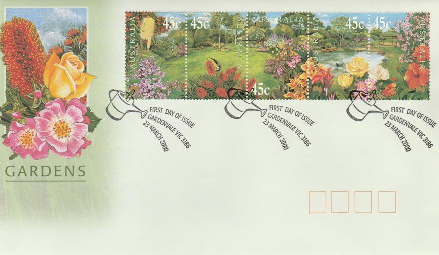 Australia sc# 1813-1817 Strip of 5 on FDC Cover - Gardens Issue of 2000