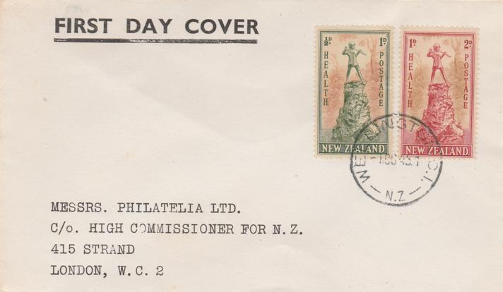 New Zealand #B26-27 FDC - 1945 Health Issue - Peter Pan Statues