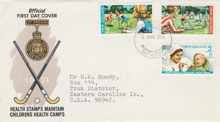 New Zealand #B82-84 FDC 1971 - Children's Health Camp - Sports