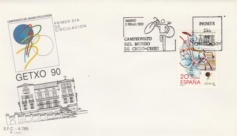 Spain sc# 2619 FDC - Ciclo-Cross - Cyclo-Cross Championship February 2, 1990